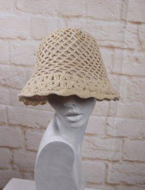 Sombrero acampanado blanco puro-beige claro tejido mezclado