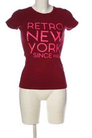 Retro Jeans T-Shirt rot-pink Schriftzug gedruckt Casual-Look