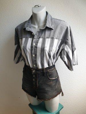 Real Vintage Chemise en jean gris-blanc coton