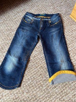 Jetlag Jeans a 3/4 blu scuro-giallo pallido