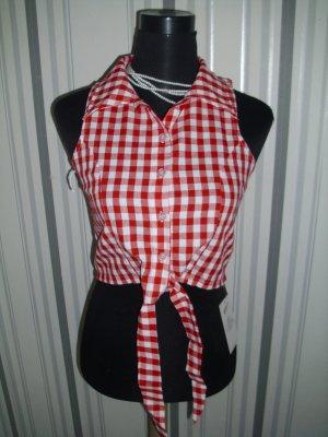 Geruite blouse wit-rood Gemengd weefsel
