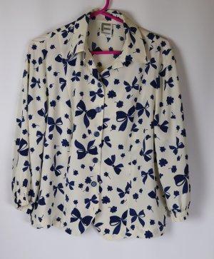 Retro Kurz Bluse Frankenwälder Größe M 38 Wollweiß Creme Blau Schleifen Blumen Muster Rockabilly Cropped
