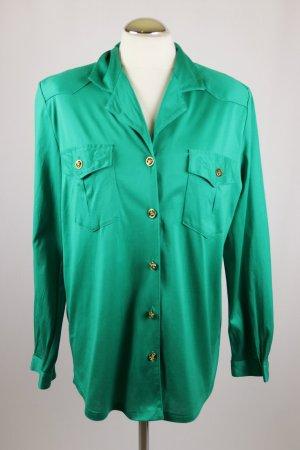 Retro Langarm Bluse Hemd Lady H. Peter Hahn Größe 40 Grasgrün Grün Jersey Glanz Elastisch Stretch Stickerei Longbluse