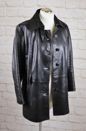 Retro Lederjacke Long Jacke aus Leder Chic in Leder Wörhoff Modell Größe 40 42 Schwarz 70er Hippie Used Look Gothik Steam Punk
