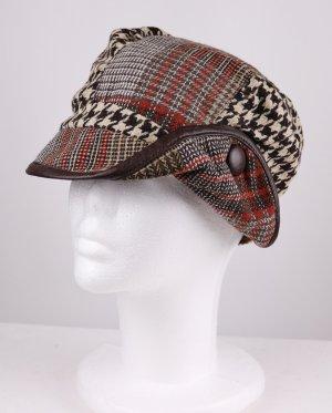 Retro Materialmix Tweed Käppie Mütze Größe 57 Hut Hahnentritt Glencheck Wolle Kappe Wollmütze Schwarz Weiß Beige Rost Rot
