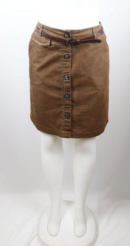 Retro Minirock kurzer Rock mit Gürtel comma, Größe S 36 Braun Baumwolle Viskose Knopfleiste