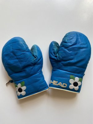 Head Guanto in pelle blu acciaio
