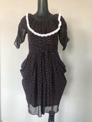 Retro Sommer Kleid Tunika von Mina UK dunkelbraun mit Blumenprint Größe S l 36