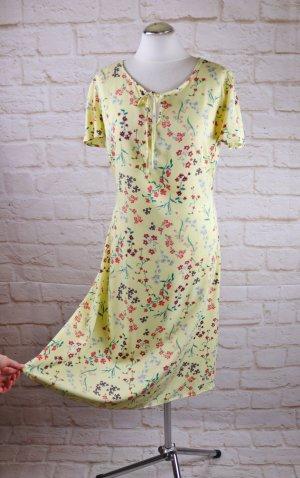 Retro Sommerkleid Midikleid Kleid bpc Größe 40 42 Gelb Millefleur Blumen Streublumen Muster Bindegürtel