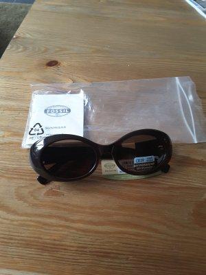 Retro Sonnenbrille neu, Fossil in braun