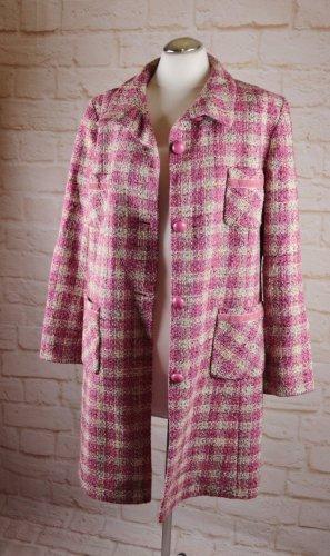 Retro Tweed Mantel Kariert Damo Donna Größe 44 Rosa Creme Kugelknopf Trench Jacke Übergangsmantel Kurzmantel