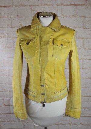Retro Used Skinny Lederjacke KOR@KOR Größe XS S 34 36 Gelb Leder Jacke Kurzjacke Biker Look