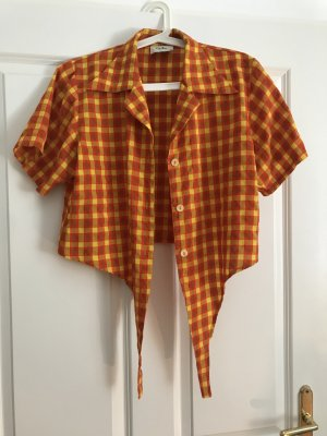 Checked Blouse red-light orange polyester