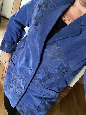 Retro vintage Echt Leder Jacke blau Gr 38
