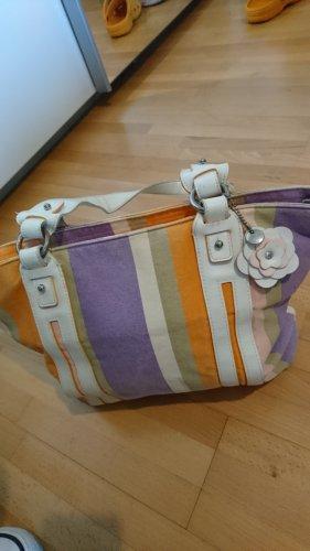 Retro Vintage Esprit Handtasche Streifen Leder Stoff