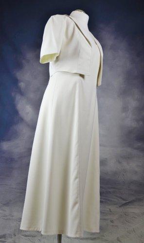 Retro Vintage Hochzeitskleid Zweiteilig Maxikleid Kleid Brautkleid M 36 38 Standesamt Creme Nude Hellbeige Schlicht 50er Rockabilly
