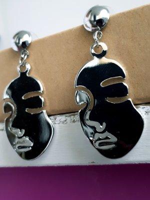 Retro Vintage Metall Ohrringe Silber Gesicht ungetragen