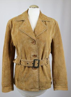 Retro Western Style Leder Jacke Echt  Outfit Größe M 38 Hellbraun Braun Schnürung Gürtel Blazer Kurzjacke