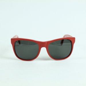 Retrosuperfuture Occhiale da sole spigoloso nero-rosso neon Tessuto misto