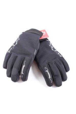 Reusch Guantes con dedos negro-blanco estampado temático look casual