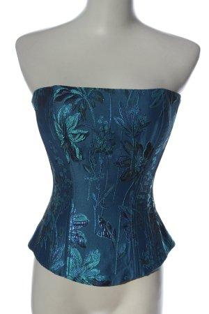 Revanche de la femme Corsé azul estampado floral look efecto mojado