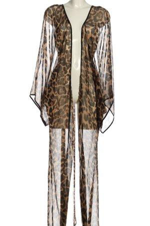 Reverse Kimono marrone-nero stampa integrale stile stravagante