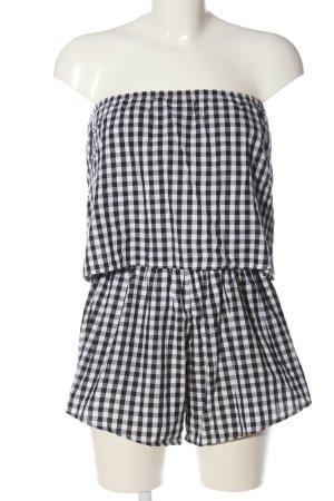 Reverse Kurzer Jumpsuit blanc-noir imprimé allover style décontracté