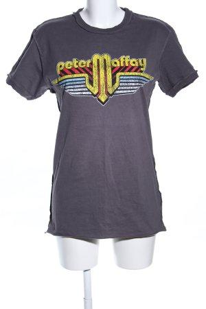 Reverse T-Shirt hellgrau-blassgelb Motivdruck Casual-Look