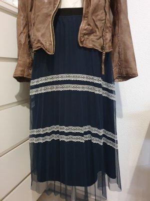 Reserved Tiulowa spódnica ciemnoniebieski-w kolorze białej wełny Poliester