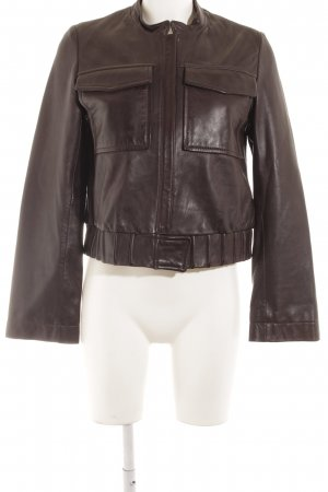 Reverso Leather Jacket dark brown casual look