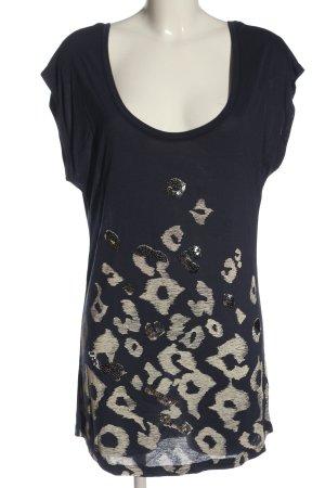 Reverso T-Shirt blue-cream themed print casual look