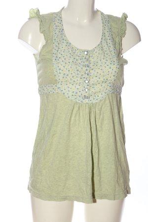 Review ärmellose Bluse grün Blumenmuster Casual-Look
