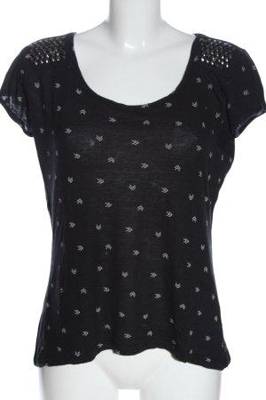 Review Shirt basique noir-blanc imprimé allover style décontracté
