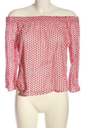 Review Blusa tipo Carmen rojo-blanco estampado repetido sobre toda la superficie