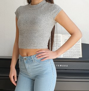 Review Crop shirt cropped Top brauchreies Shirt melange rundhals