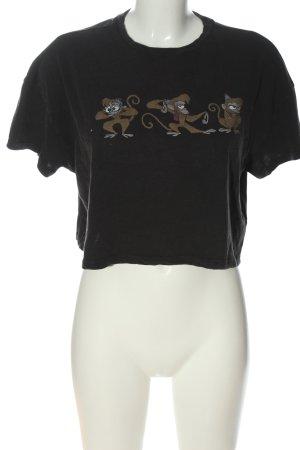 Review Cropped Shirt schwarz-braun Motivdruck Casual-Look