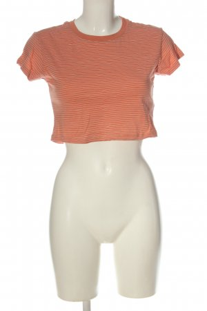 Review T-shirt court orange clair-blanc motif rayé style décontracté