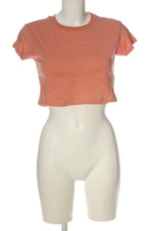 Review Camisa recortada naranja claro-blanco estampado a rayas look casual