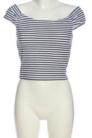 Review Crop-top noir-blanc motif rayé style décontracté