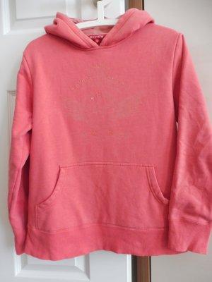 Review Damen Sweatshirt Rosa Uni Boxy Passform Kapuze Mit
