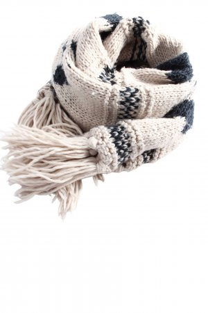 Review Fringed Scarf natural white-black allover print casual look