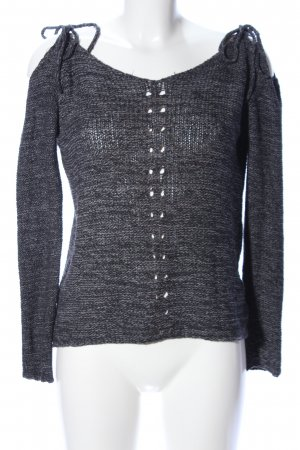 Review Crochet Sweater black-light grey flecked casual look