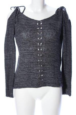 Review Jersey de ganchillo negro-gris claro moteado look casual