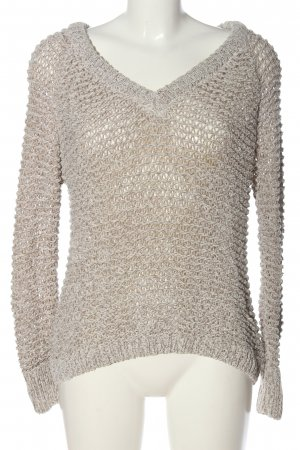 Review Crochet Sweater light grey cable stitch casual look