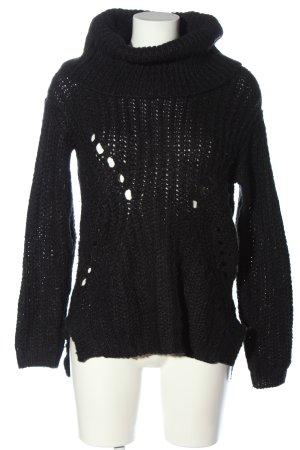 Review Szydełkowany sweter czarny Warkoczowy wzór W stylu casual