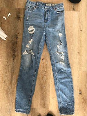 Review Pantalón de cintura alta azul celeste