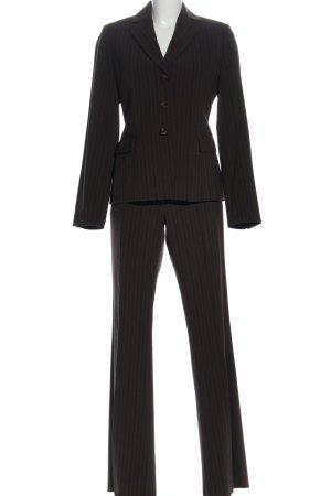 Review Traje de pantalón marrón-blanco estampado a rayas estilo «business»