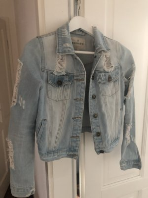 REVIEW Jeansjacke im Destroyed Look - Hellblau