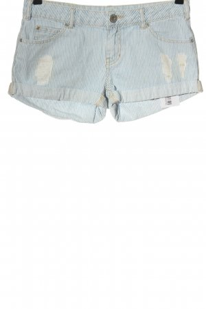 Review Jeansshorts blau-weiß Streifenmuster Casual-Look