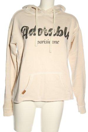 Review Kapuzensweatshirt creme-bronzefarben Schriftzug gedruckt Casual-Look